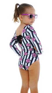 SWIMSUIT BLACK LINES ROSES NIÑA