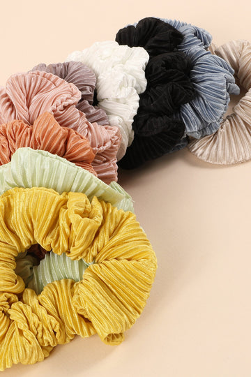 Pleated Solid Hair Scrunchies - KAIT TYLER