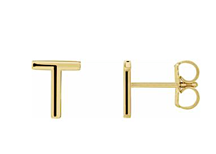 14k Gold Single Initial Earring - KAIT TYLER