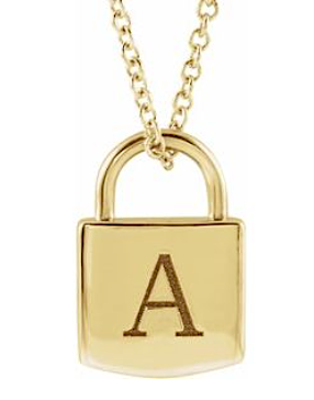 14K Engravable Lock Necklace - KAIT TYLER