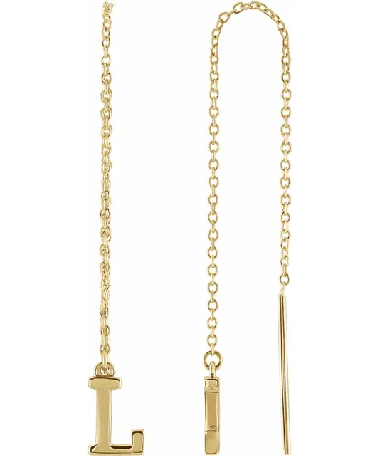 14K Single Initial Chain Earring - KAIT TYLER