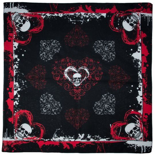 Bandana Hearts and Skull