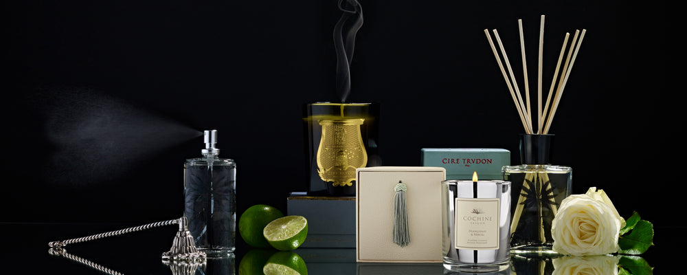 A display of Luxury Home Fragrances including Cire Trudon Candles available at Woods Fine Linens