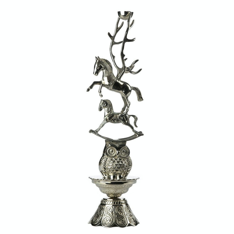 Horse Silver Candle Stand