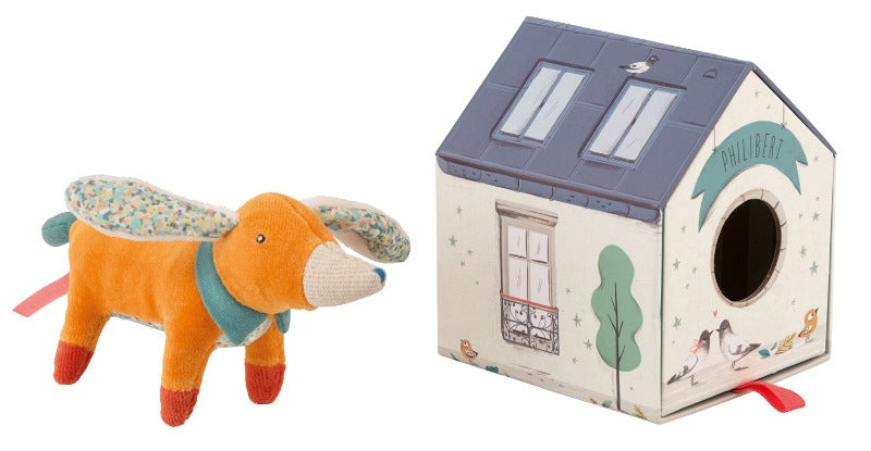 Philbert the Hound Soft Toy standing next to his kennel