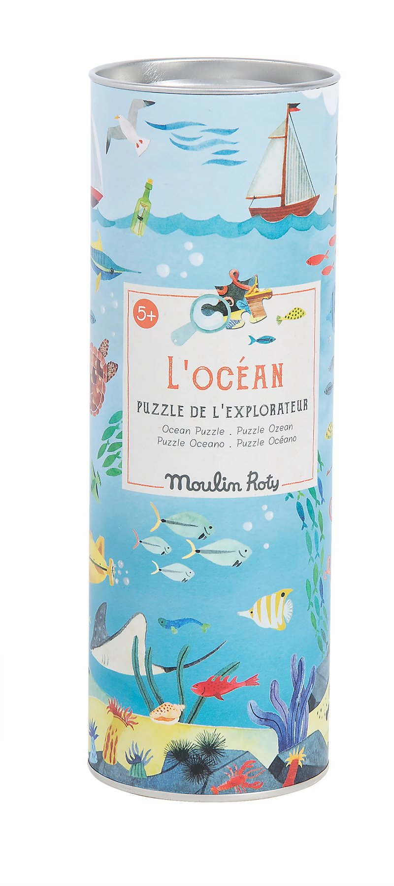 Moulin Roty Assorted Jigsaw Puzzles - Ocean with tube and magnifying glass