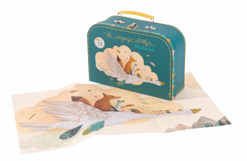 Moulin Roty Olga the Goose 124 piece jigsaw puzzle with case.