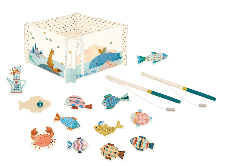 Moulin Roty - Children's Fishing Game - includes toy fish and two magnetic fishinhg rods with fishing area