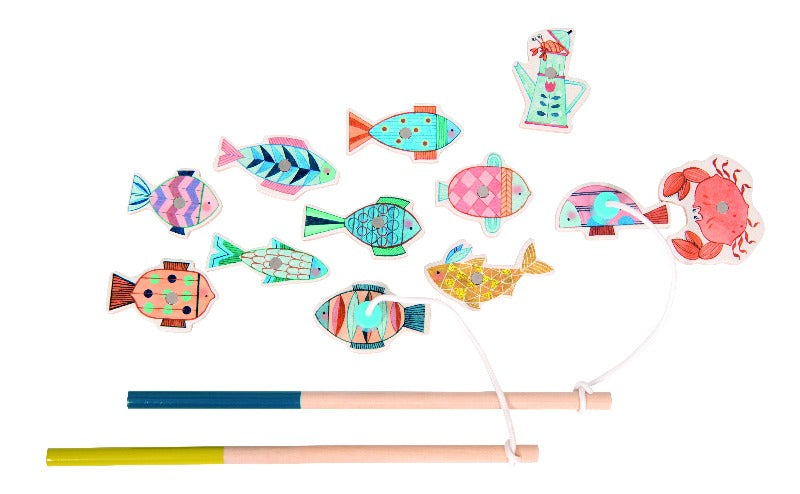 Moulin Roty - Children's Fishing Game - includes toy fish and two magnetic fishinhg rods