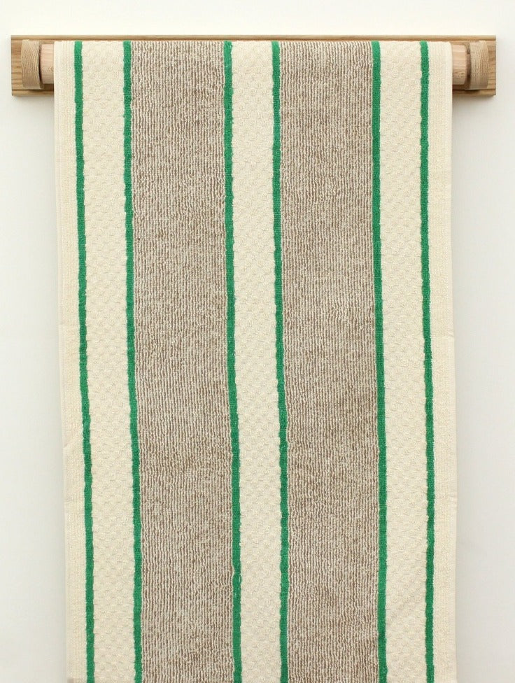 Cotton Roller Towel - Green Stripe