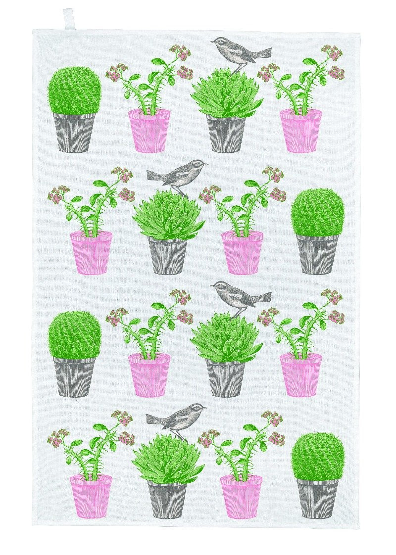 Cactus & Bird Cotton Tea Towel