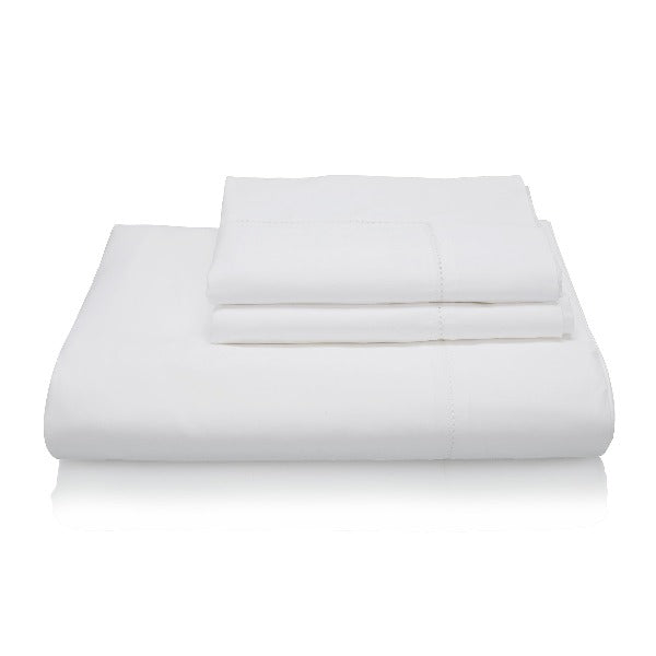 Classic Indian Cotton Hemstitch Bed Linen Collection - white with a border of hemstitch