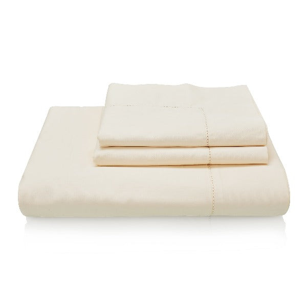 Classic Indian Cotton Hemstitch Bed Linen Collection - cream with a border of hemstitch