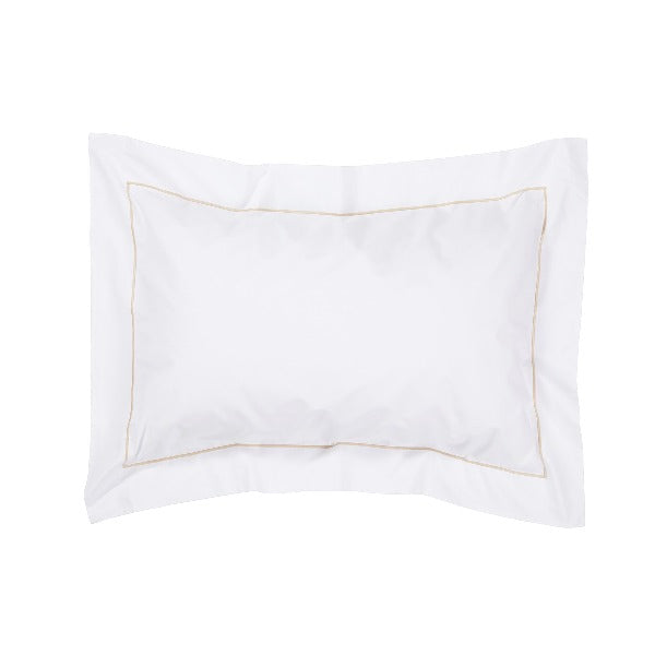 Classic Indian Cotton One Row Cord Oxford Pillowcase - White with taupe cording