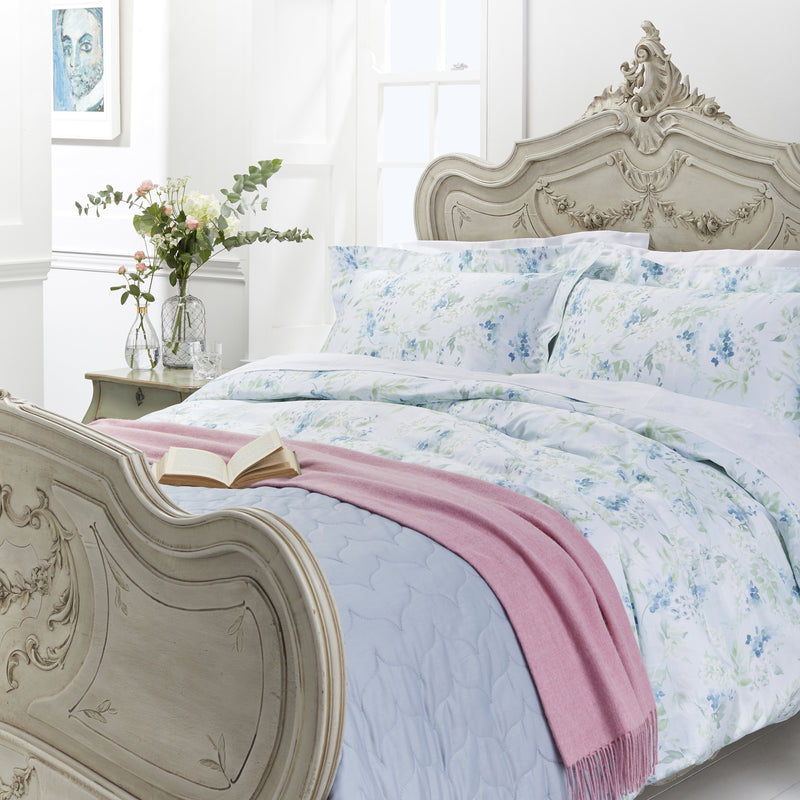 Woods Padova Egyptian Cotton Bed Linen Collection Blue Floral pattern