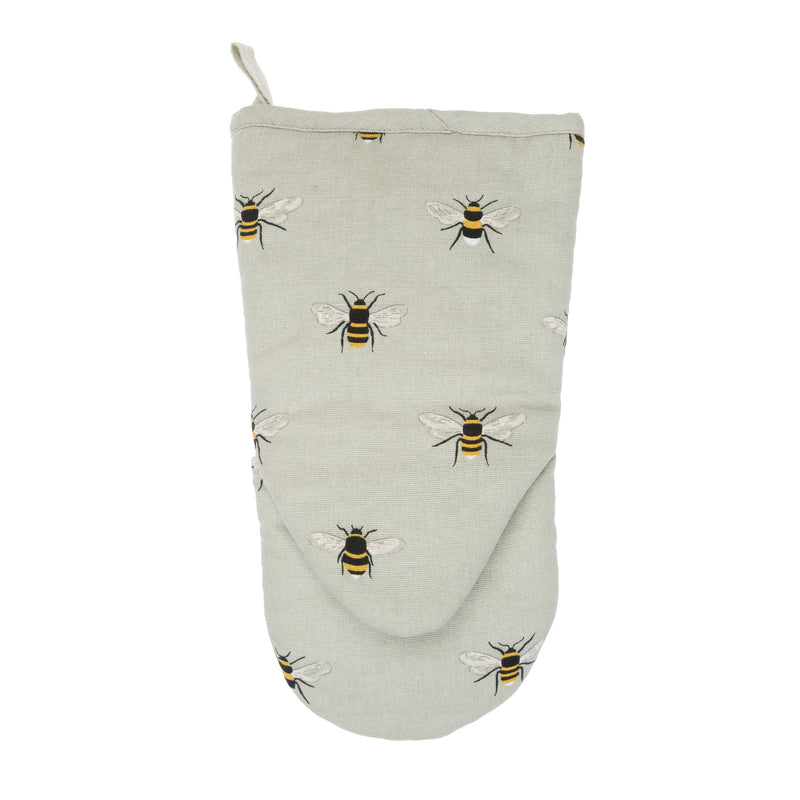 Reverse view of Sophie Allport Bees Cotton Oven Mitt - Bees on a beige background
