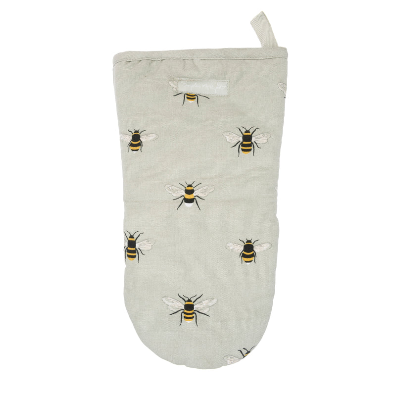 Sophie Allport Bees Cotton Oven Mitt- Bees on a beige background