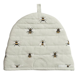 Sophie Allport Bees Beehive Cotton Tea Cosy. Bees on a very pale green background