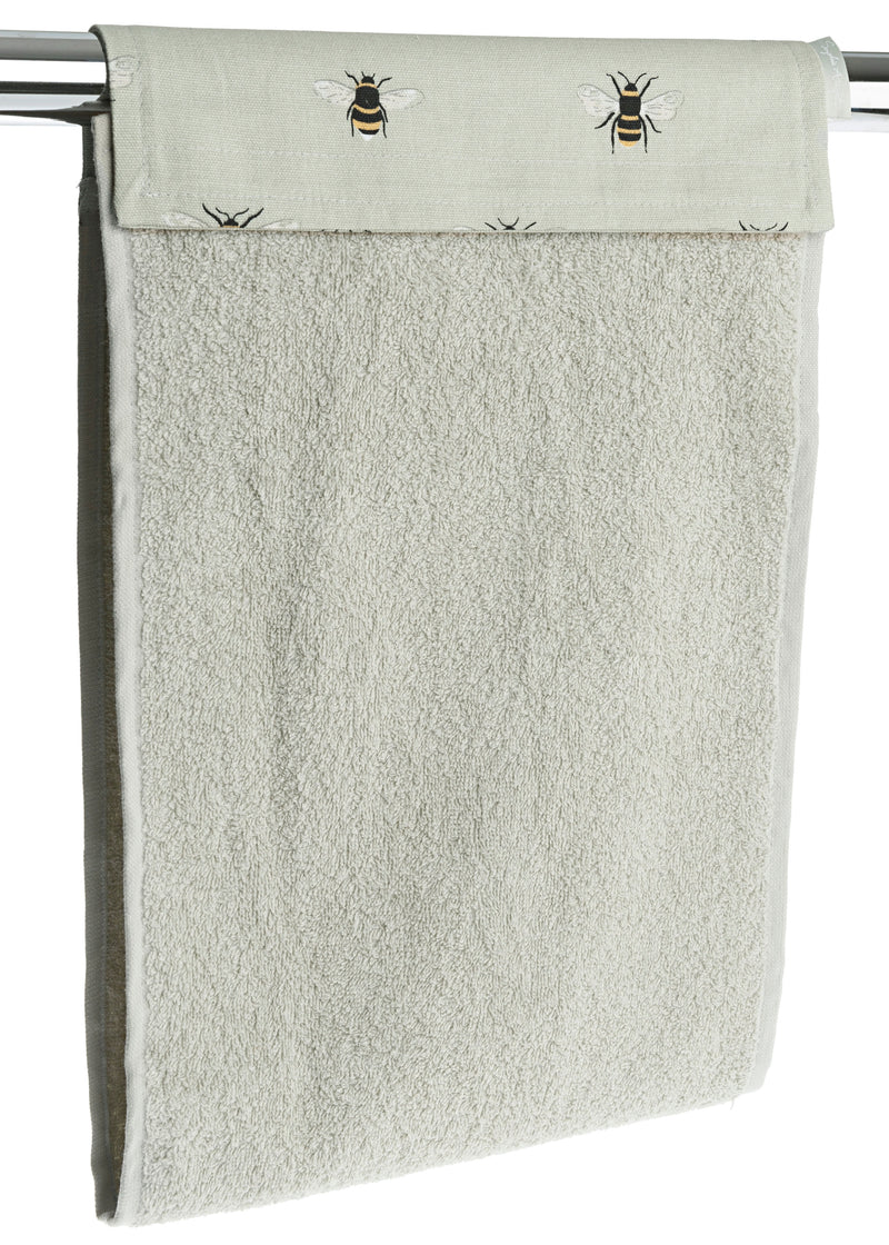 Sophie Allport Bees Cotton Roller Hand Towel. A plain beige roller hand towel with a lovely bee header. Angled view