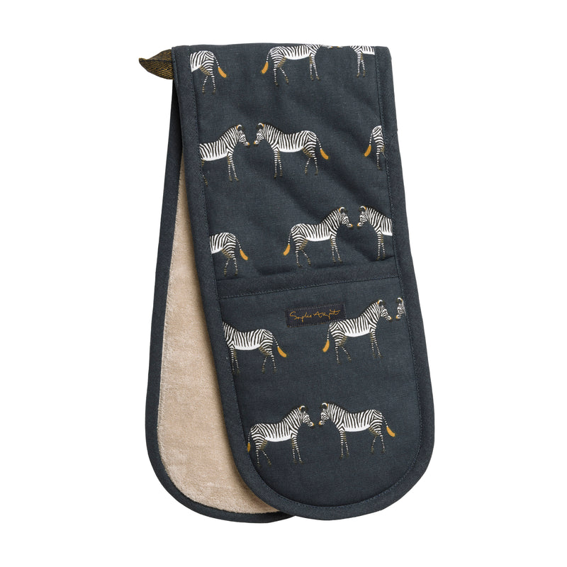 Sophie Allport Zebra Cotton Double Oven Gloves. Zebras standing on a dark background