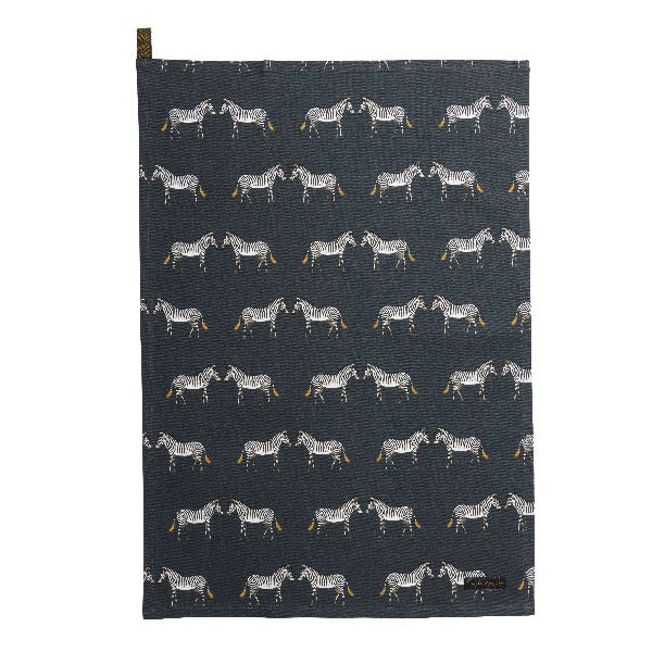 Sophie Allport Zebras Cotton Tea Towel - Zebras standing face to face across a navy charcoal background