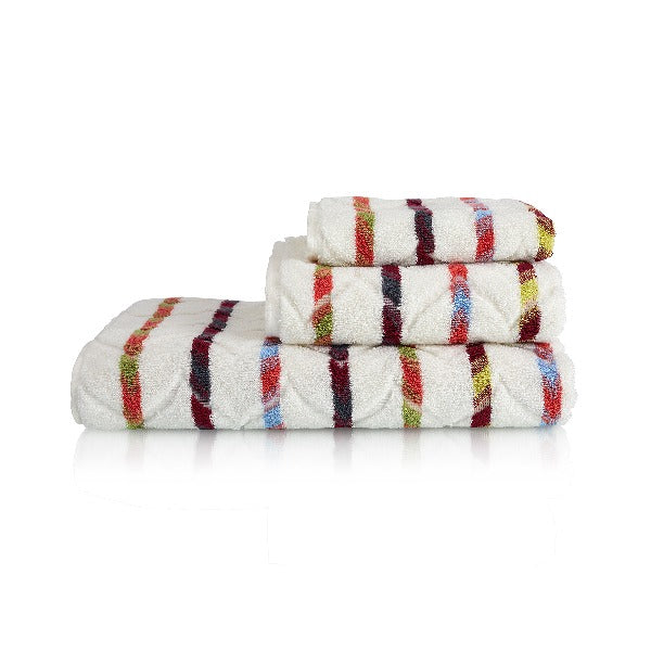 Ottaman Organic Cotton Towel Collection - Ivory Multi Stripes