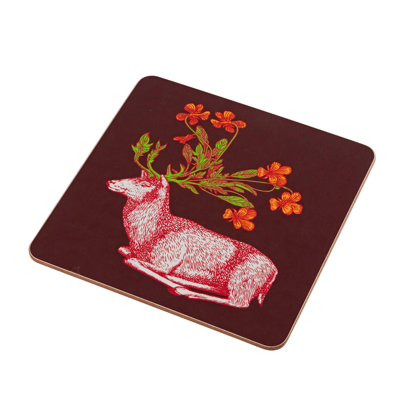 Animal Placemat and Coaster Collection Burgundy Stag Design