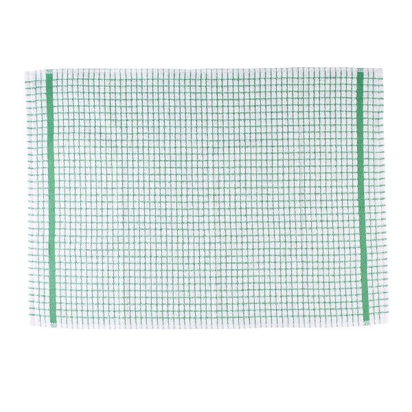 Terry Checked Tea Towel - Green check