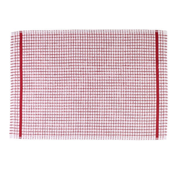 Terry Checked Tea Towel - Red check