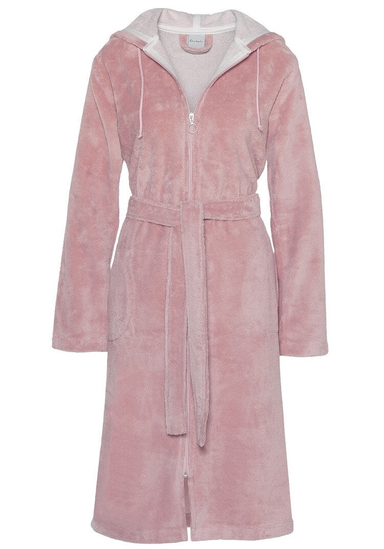 Van Dyck Duchess Velour Bath Robe - Pale pink
