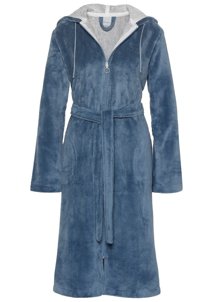 Van Dyck Duchess Velour Bath Robe - Blue