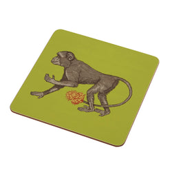 Animal Placemat and Coaster Collection Lime Green Monkey Design