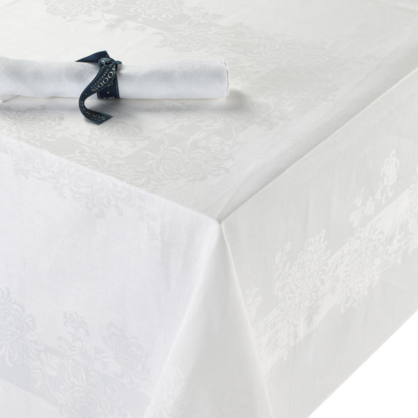 Irish Linen Single Damask Chrysanthemum Tablecloth Collection