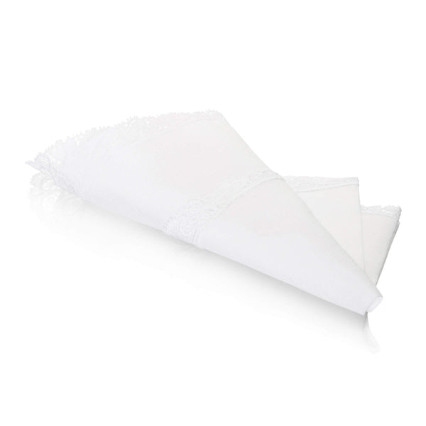 Lace Swiss Cotton White Ladies Handkerchief folded