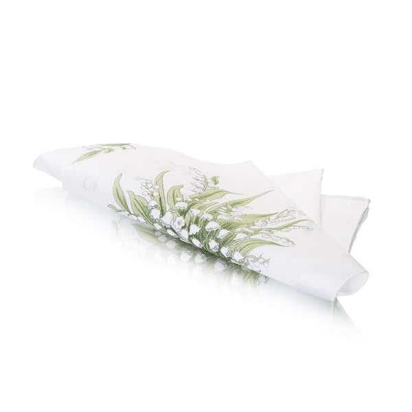 Lily Of The Valley Swiss Cotton White Ladies Handkerchief folded
