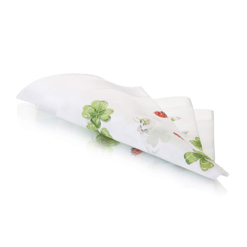 Ladybird Swiss Cotton White Ladies Handkerchief folded