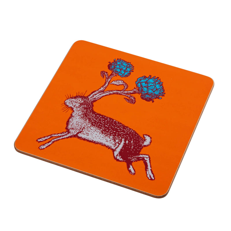 Animal Placemat and Coaster Collection Orange Hare Design