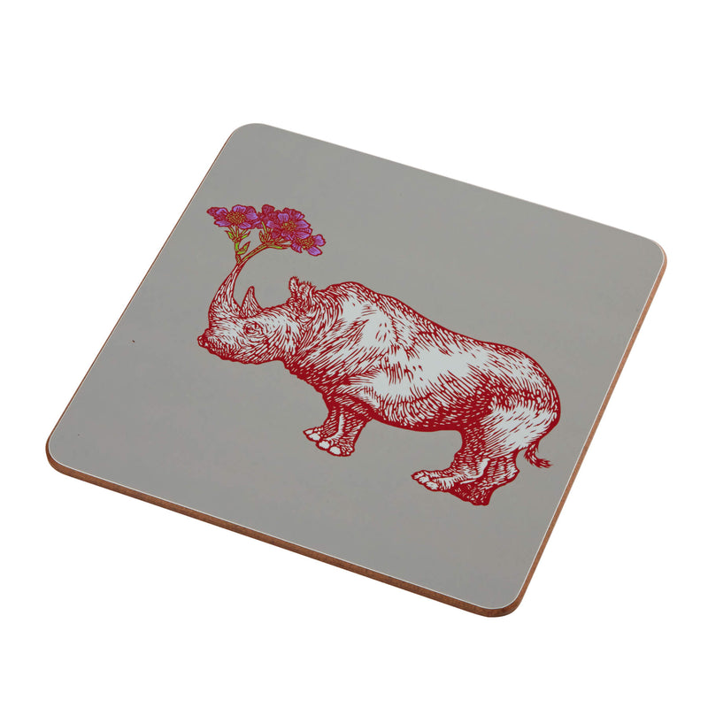 Animal Placemat and Coaster Collection Grey Rhino Design