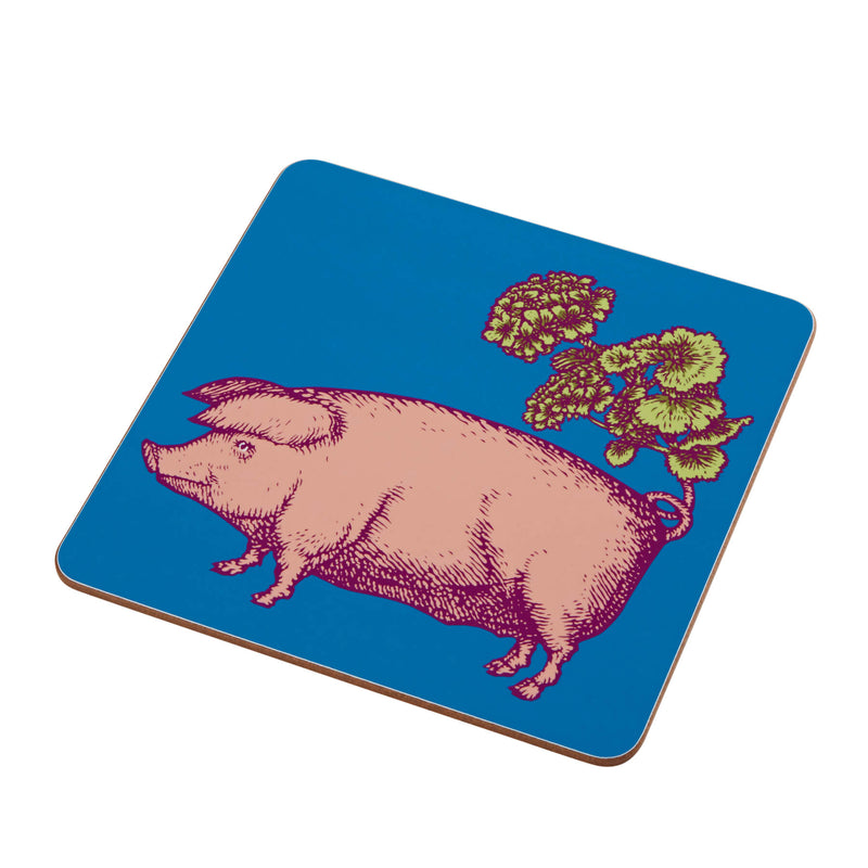 Animal Placemat and Coaster Collection Blue Pig Design