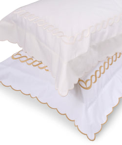 Pratesi Chain Design Egyptian Cotton Cream/Cream Pair of Oxford PIllowcases