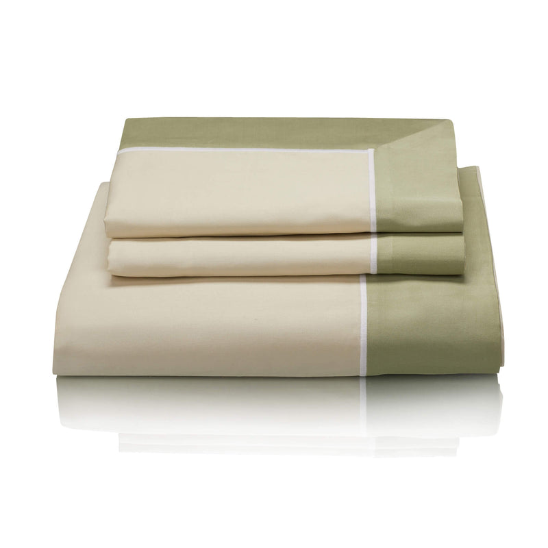 Woods San Danielle Egyptian Cotton Pale Green/White/Sage Bed Linen Collection