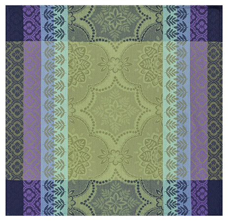 Bastide Cotton Napkin - Olive and purple pattern