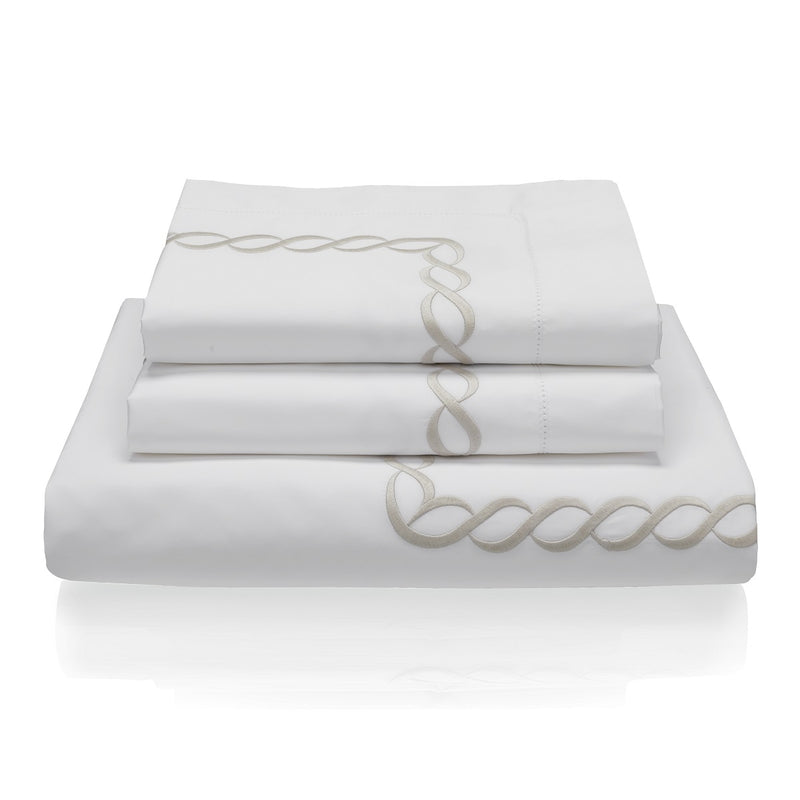Woods Italian Classic Sorano Superfine Bed Linen Set White/Beige