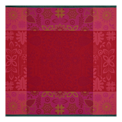 Rovaniemi Napkin - Rich red napkin with a floral red border