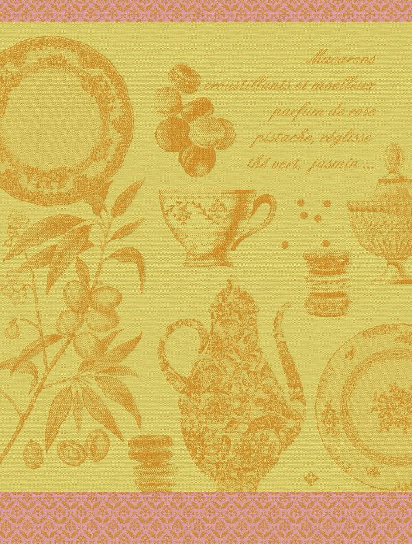 Macarons Cotton Tea Towel - Mango Colour depicting  the wonders of the French Patisserie