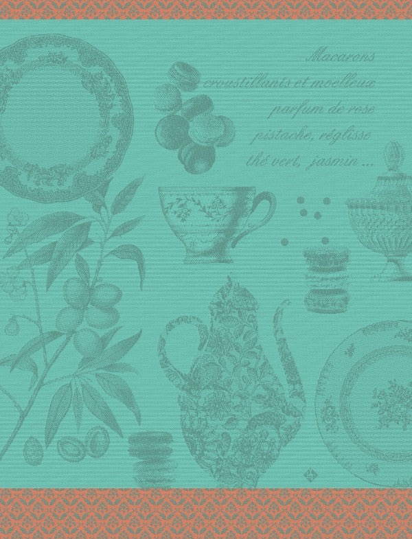 Macarons Cotton Tea Towel - Mint Colour depicting  the wonders of the French Patisserie