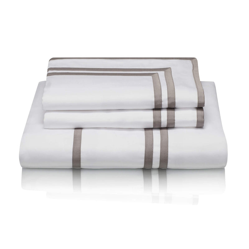 Woods Trieste Egyptian Cotton Bed Linen Collection White/Silver Grey