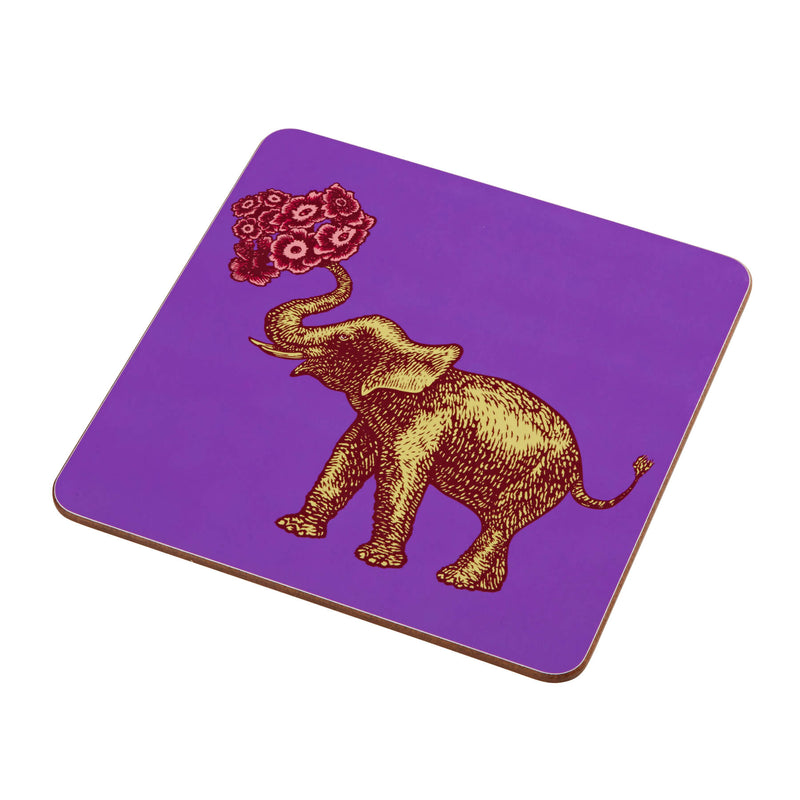 Animal Placemat and Coaster Collection Purple Elephant Design
