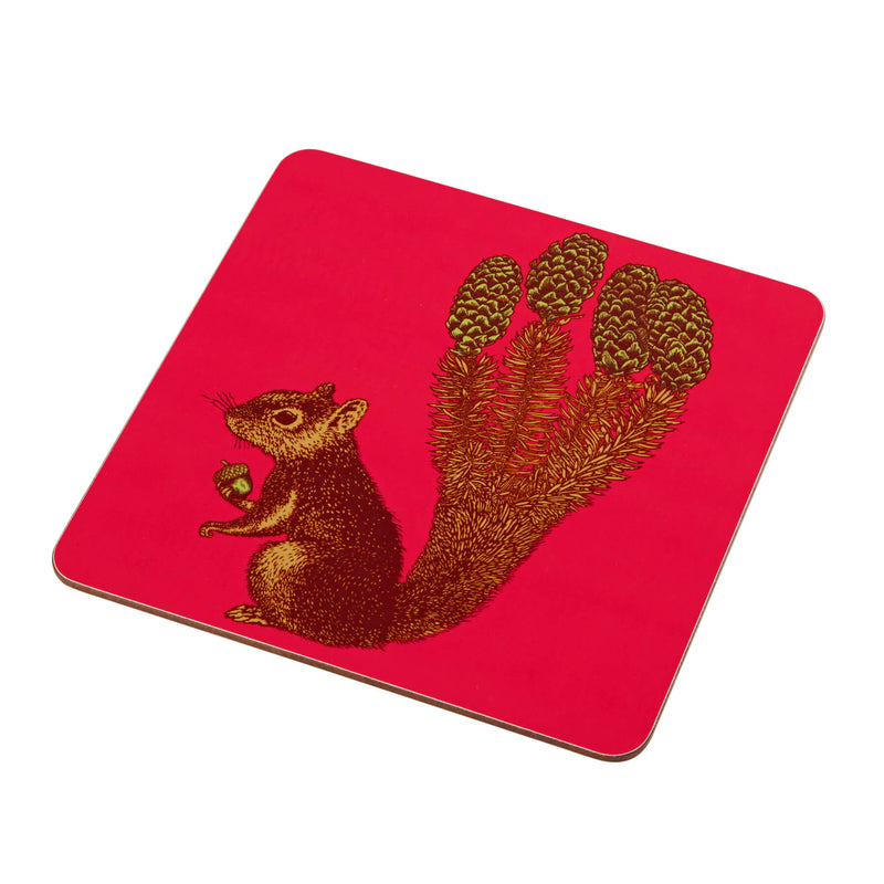 Animal Placemat and Coaster Collection Pink Squirrel Design