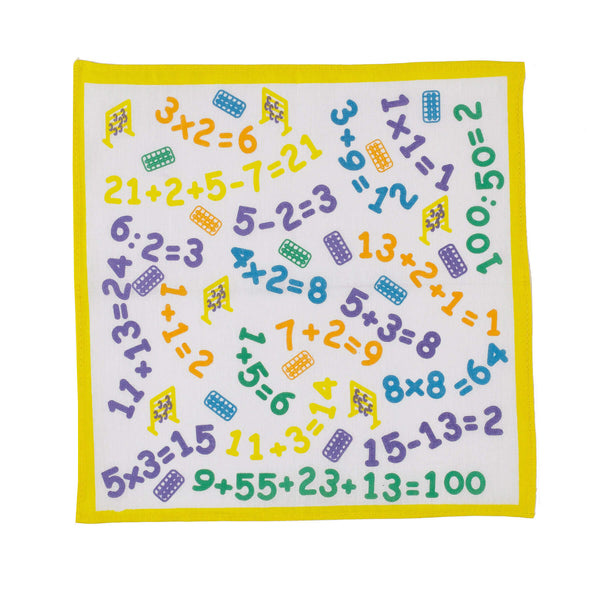 Numbers Design Cotton Yellow Border Children s Handkerchief